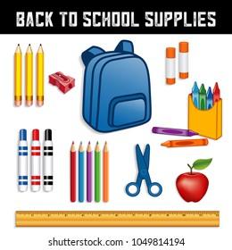 Back to School Supplies for elementary, middle school, kindergarten, daycare, preschool: backpack, crayons, pencils, sharpener, markers, glue sticks, scissors, apple for the teacher, ruler.