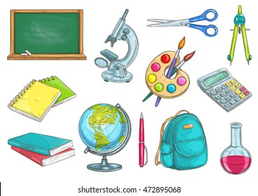 Back to school school supplies icons. Vector sketches of chalk blackboard, microscope, copybook, textbook, watercolor paint, globe, pen, rucksack, chemical flask, scissors, compass, calculator