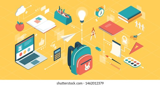 Back to school supplies and kids creativity concept, network of isometric vector icons