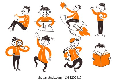 Back to school teenager boys character set. Learn, writing, riding book, fly on rocket, run, study activities in flat doodle concepts. Vector illustartion. Hand drawn style.