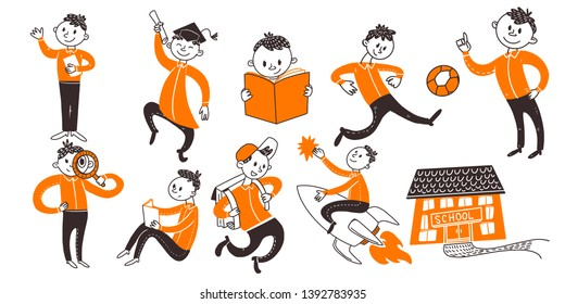 Back to school teenager boys character set. Learn, writing, riding book, fly on rocket, run, study activities in flat doodle concepts. Vector illustration. Hand drawn style.