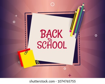 Back to school template design with colorful pencil and notepad. background poster and banner design for print.