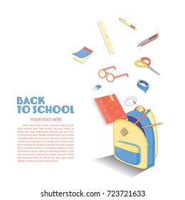 Back to school template. Education background design. Colorful vector stuffs.
