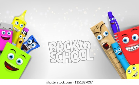 Back to school Template With Funny Cartoon Stationery. EPS10 Vector