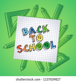 Back to school text drawing by colorful pencils on checked paper, vector illustration banner.