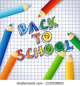 Back to school text drawing vector background banner with checked paper and coloured pencil