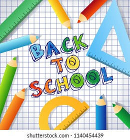 Back to school text drawing vector background banner card with checked paper, coloured pencil and rulers