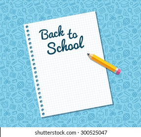 Back to school text on sheet of lined notebook paper and flat vector pencil on blue pattern of education related symbols. Texture can be tiled seamlessly in any direction.