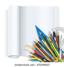 Back to school theme. Exercise book with math spread and twisted page, ruler pens and pencils. Vector background