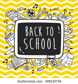Back to school themed doodle with chevron background