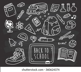 Back to school themed doodle on black board