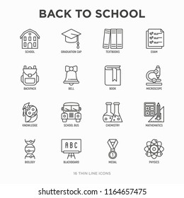 Back to school thin line icons set: backpack, bell, book, microscope, knowledge, owl, graduation cap, bus, chemistry, mathematics, biology, blackboard, physics, exam. Modern vector illustration.