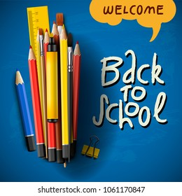 Back to school title words with realistic school items with colored pencils, pen and ruler in a blue background, vector image
