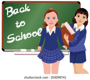 Back to School  Two schoolgirl.  vector illustration