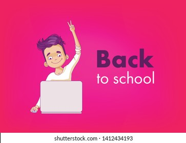 Back to school Type. Boy sitting at the laptop. Kid's coding vector illustration. Young programmer coding. Kids' programming logo inspiration.