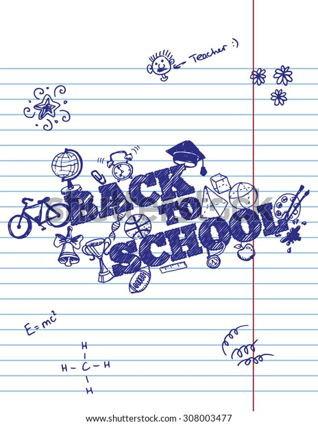 Back To School Typographical Background On Copybook Paper