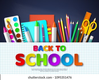 Back to school typography design with realistic school supplies. Paper cut style letters on squared paper, blackboard background. Vector illustration.