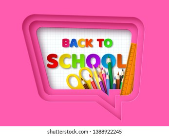Back to school typography design with realistic school supplies. Paper cut speech bubble with letters on checkered background. 3d layered art. Vector illustration.