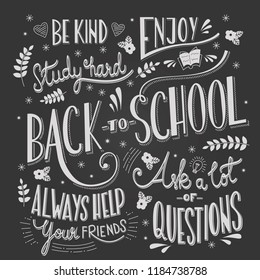 Back to school typography drawing on blackboard with motivational messages, hand lettering, vector illustration