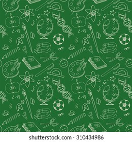 Back to school, various education objects on green blackboard, Seamless pattern, vector illustration