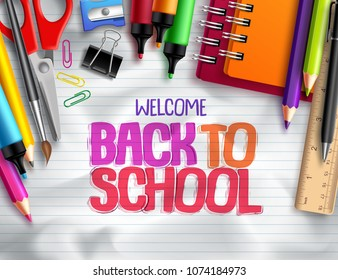 Back to school vector background design with school elements, colorful education supplies and white space for text in paper texture background. Vector illustration.