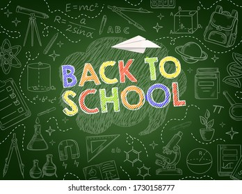 Back to school vector background of education supplies chalk sketches on blackboard. School book, pencils and rulers, student bag, microscope, calculator and abc, chemical flasks, telescope and DNA