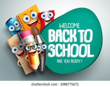 Back to school vector banner design with colorful funny school characters a, education items and space for text in a background. Vector illustration.