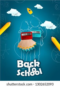 Back to school vector banner,poster card design with 3d yellow sharp wooden pencils and Welcome Back to School text