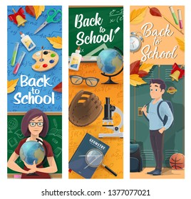 Back to school vector banners of education design. Student and teacher at classroom with school supplies, book and notebook, chalkboard, scissors and backpack, globe, paint, pencil and microscope