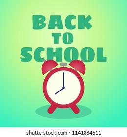 Back to school vector card background with alarm clock, cartoon illustration