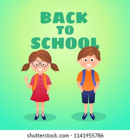 Back to school vector card background with students. girl and boy, cartoon illustration