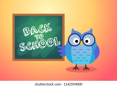 Back to school vector card background with owl and board, cartoon illustration