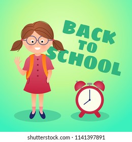 Back to school vector card, child with alarm clock, cartoon illustration