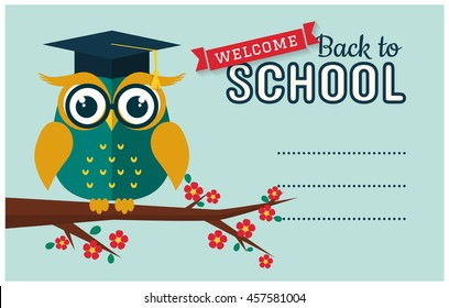 Back to school. Vector card with place for text. Wise owl with book and graduate cap. Flat design.