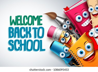 Back to school vector characters background template with funny education cartoon mascots like pencil and book and white space for text. Vector illustration.