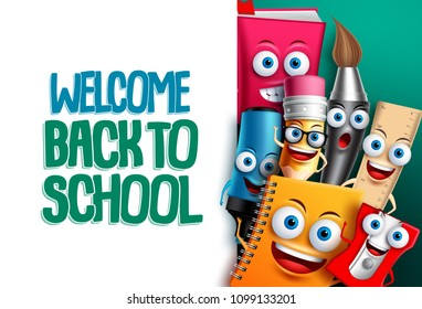Back to school vector characters background template with empty white space for educational text and colorful funny cartoon mascots. Vector illustration.