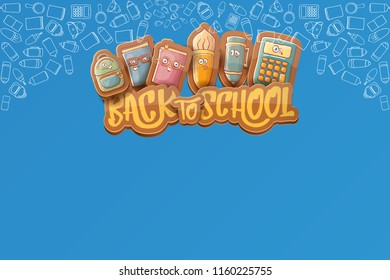 Back to school vector characters horizntal background template or banner with funny cartoon supplies like pencil ,book, bag, eraser and space for text. Vector back to school label