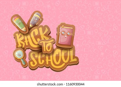 Back to school vector characters horizntal background template or banner with funny cartoon supplies like pencil ,book, bag, eraser and space for text. Vector back to school label on pink