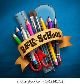 Back to school vector concept with greeting text, colorful school supplies, education elements and lasso in blue chalkboard background. Vector illustration.