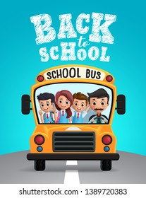 Back to school vector design. School bus with school kids students in uniform happy riding and back to school text in blue background. Vector illustration.