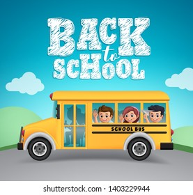 Back to school vector design. School bus and back to school text with happy kids students riding outdoor.  Vector illustration.