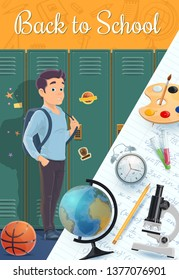 Back to school vector design of cartoon student and education supplies. Boy standing near school lockers, backpack and pencil, globe, alarm clock and microscope, basketball ball and paint palette