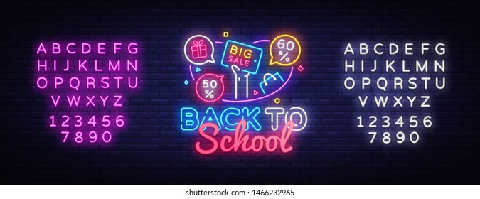 Back to School Vector, discount sale concept illustration in neon style, online shopping and marketing concept. Neon luminous signboard, bright banner, light advertisement. Editing text neon sign