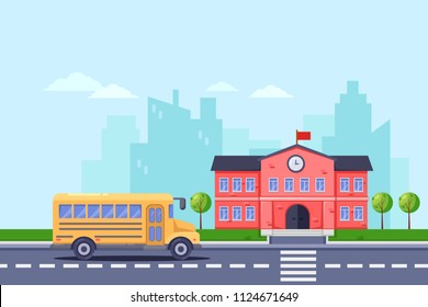 Back to school, vector flat illustration. School building and yellow bus on road. Education background.