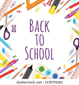 Back to school. Vector frame. Study items in flat style isolated on white background.