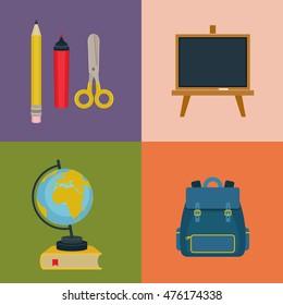Back to school vector icons. Assortment of school supplies