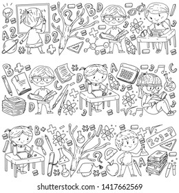 Back to school. Vector icons and elements for little children, college. Doodle style, kids drawing