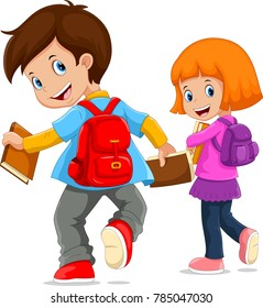 Back to school. Vector illustration of cartoon kids going to school