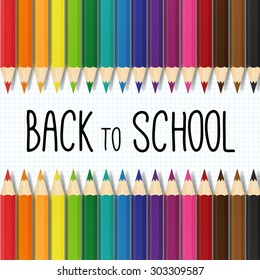 back to school vector illustration with colorful pencils. isolated. layered.