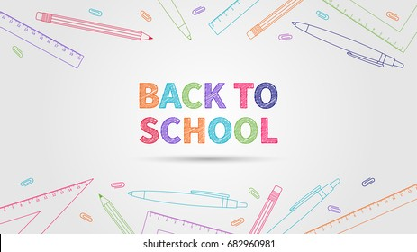 Back to school vector illustration. Creative concept Back to school with colorful elements (pencil, pen, ruler, staple). Graphic design template on light grey background.